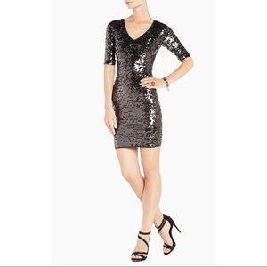 BCBGMax Azria Women's Maura V-Neck Sequin Dress